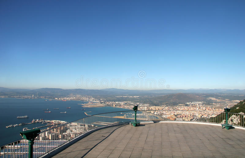 Aerial View - Bay of Gibraltar royalty free stock photography