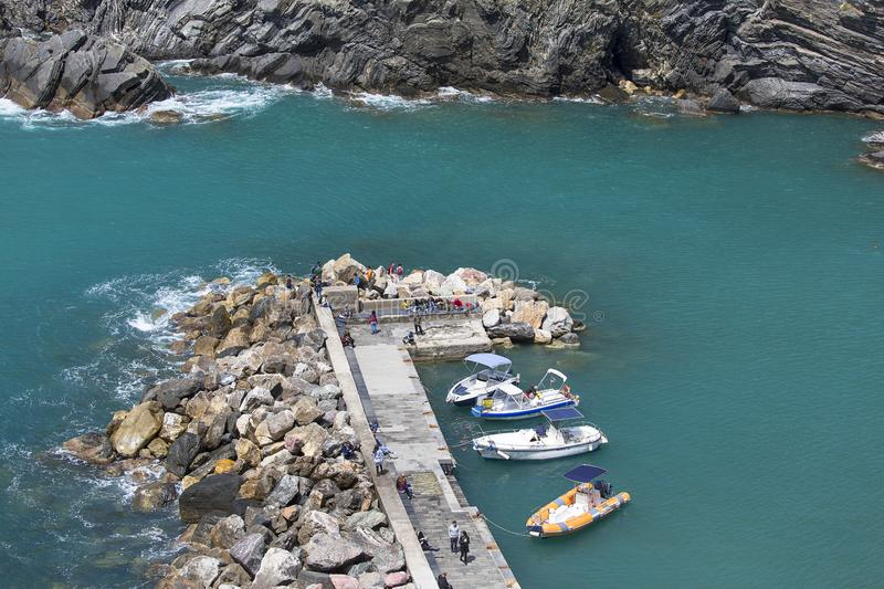 Aerial view on bay with moored boats in the marina, Vernazza, Italy stock images