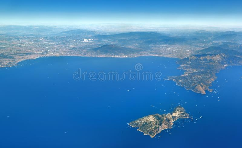 Aerial view of the Bay of Naples, with the island of Capri royalty free stock images