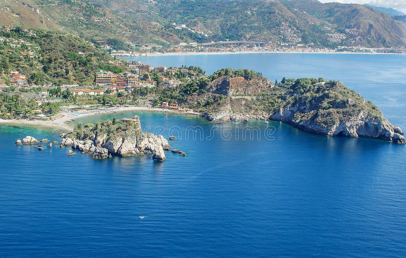 Aerial view of the bay of Taormina in Sicily stock image