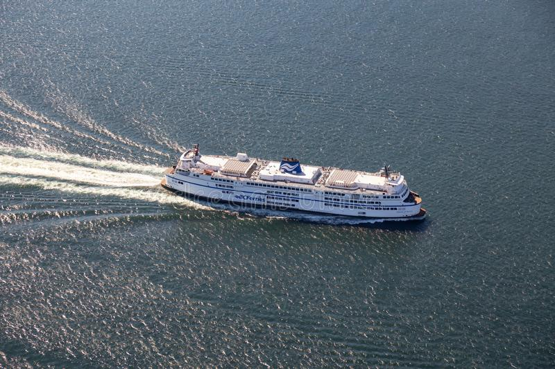 Aerial view BC Ferry traveling in the ocean royalty free stock image