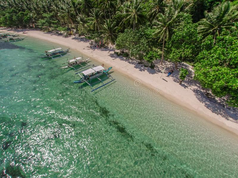 Aerial view of the beach with fishing boats. Elnido, Philippines, 2018 stock photo