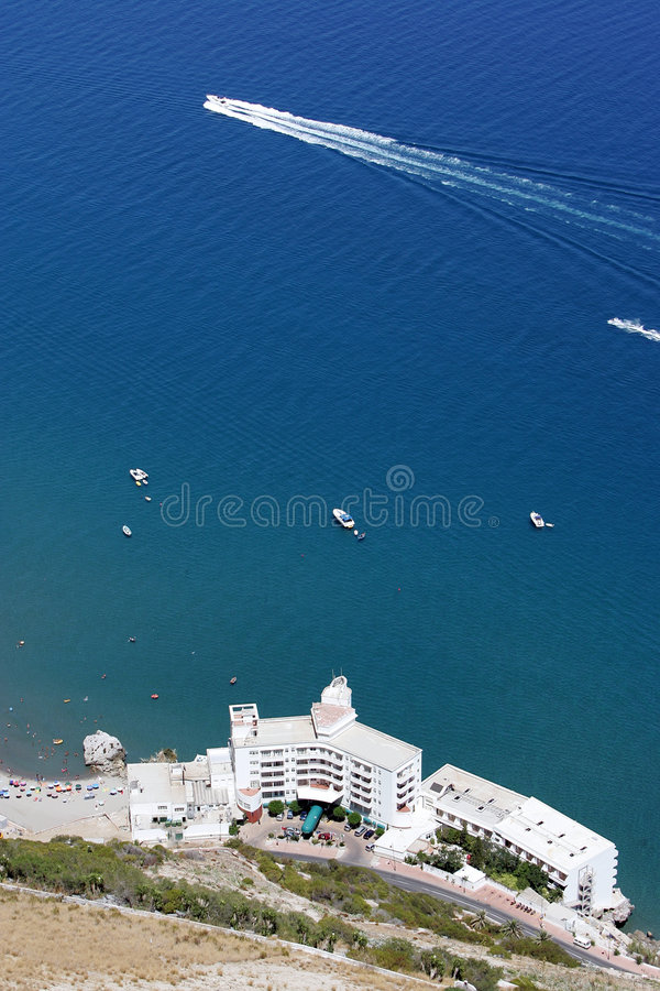 Aerial view of beach and hotel on Gibraltar royalty free stock photos