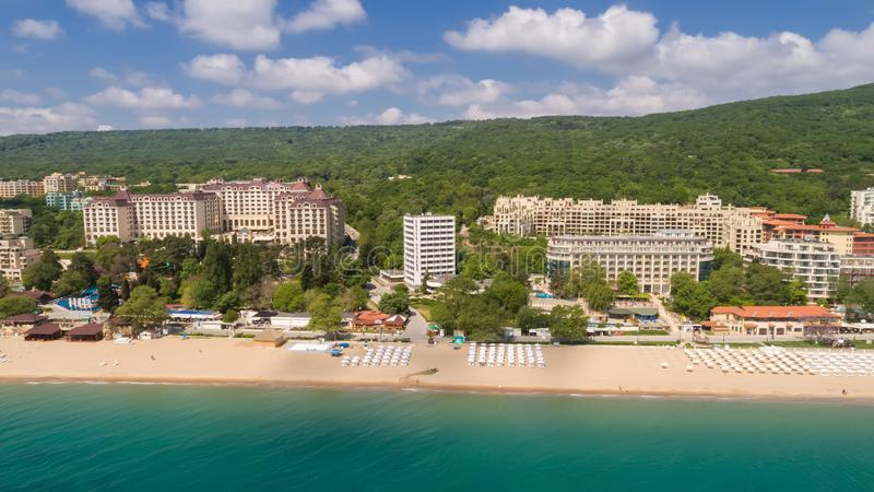Aerial view of of the beach and hotels in Golden Sands, Zlatni Piasaci. Popular summer resort near Varna, Bulgaria. View of the beach and hotels in Golden Sands stock photo