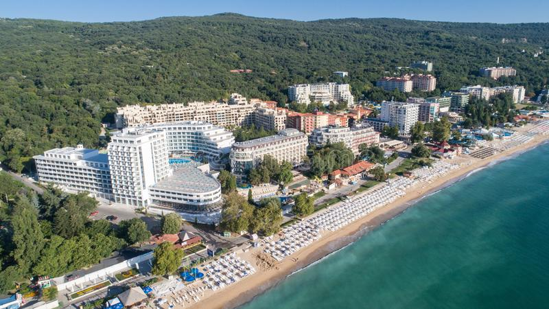 Aerial view of the beach and hotels in Golden Sands, Zlatni Piasaci. Popular summer resort near Varna, Bulgaria. Aerial view of the beach and hotels in Golden royalty free stock photo