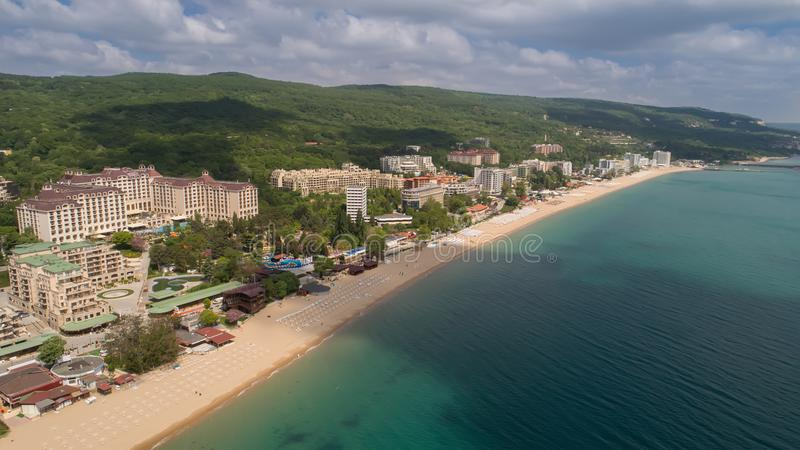 Aerial view of the beach and hotels in Golden Sands, Zlatni Piasaci. Popular summer resort near Varna, Bulgaria. Aerial view of the beach and hotels in Golden stock photography