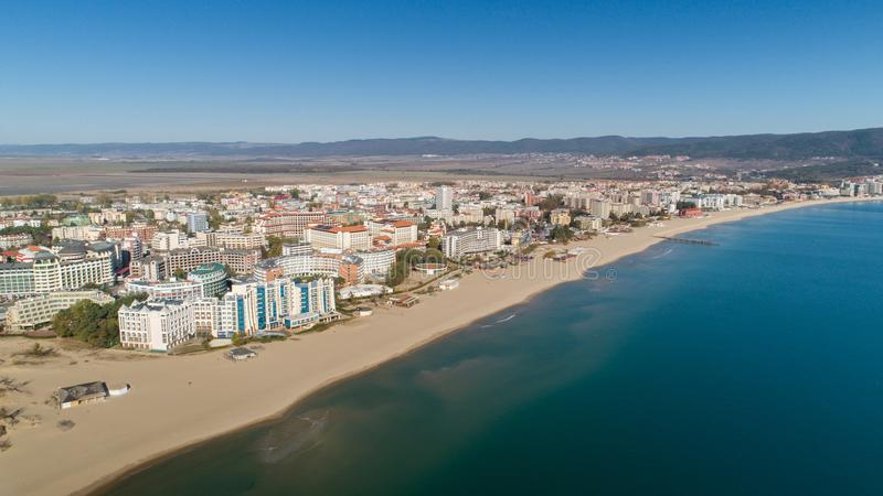 Aerial view of the beach and hotels in Sunny Beach, Bulgaria. Sunny Beach Slanchev Bryag is a major seaside resort on the Black. Aerial view of the beach and royalty free stock images
