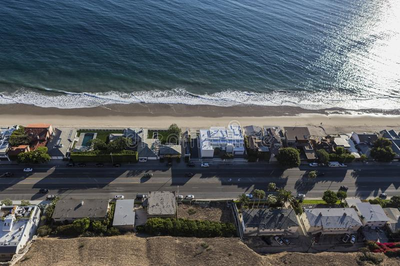 Pacific Coast Highway Aerial Malibu California. Aerial view of beach houses near Los Angeles on Pacific Coast Highway in Malibu, California royalty free stock images