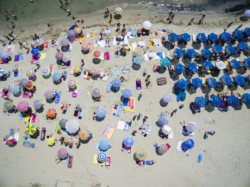Aerial view of beach in Katerini, Greece. royalty free stock photo