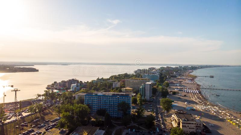 Aerial view of beach in Mamaia, Constanta, popular tourist place and resort on black sea in a Romania royalty free stock photography