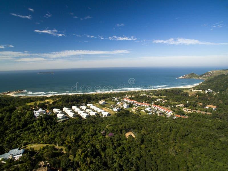 Aerial view Beach Mole praia Mole in Florianopolis, Santa Catarina, Brazil. July 2017. stock photos