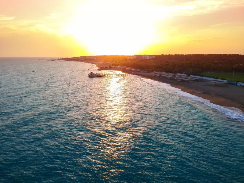 Aerial view of the beach near Side at sunset royalty free stock photography