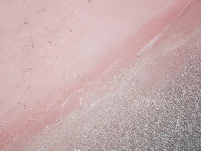 Aerial view of beach, pink beach Komodo Island Indonesia. Beatiful beach scene stock photography