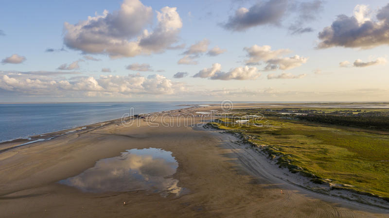 Aerial view of the beach at Sankt Peter Ording, Germany stock photos