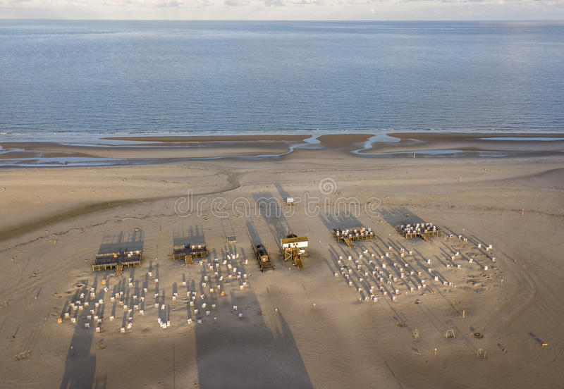 Aerial view of the beach at Sankt Peter Ording, Germany stock photo