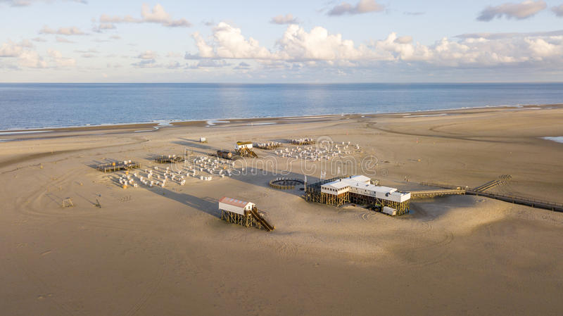 Aerial view of the beach at Sankt Peter Ording, Germany royalty free stock images