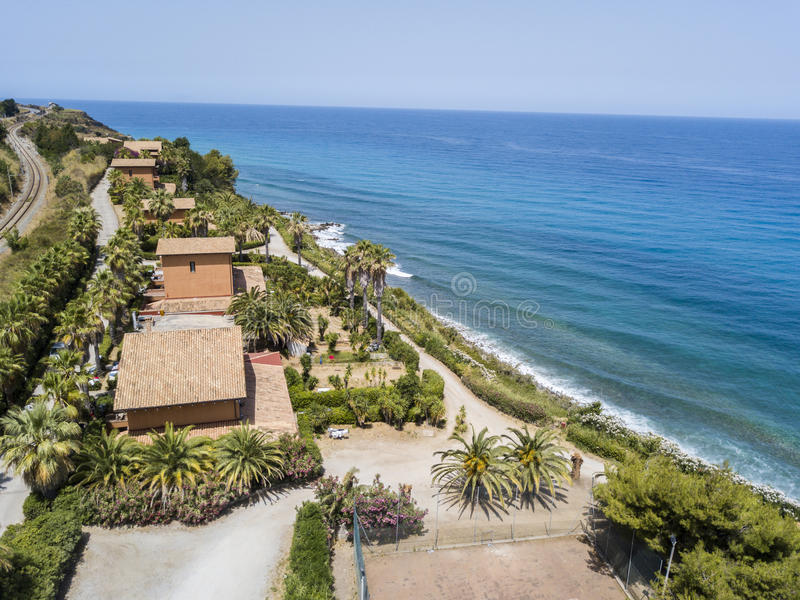 Aerial view of a beach, Sant`Irene, Briatico, Calabria. Italy. Aerial view of a promontory, coast, cliff, cliff overlooking the sea, Sant `Irene, Briatico royalty free stock photography