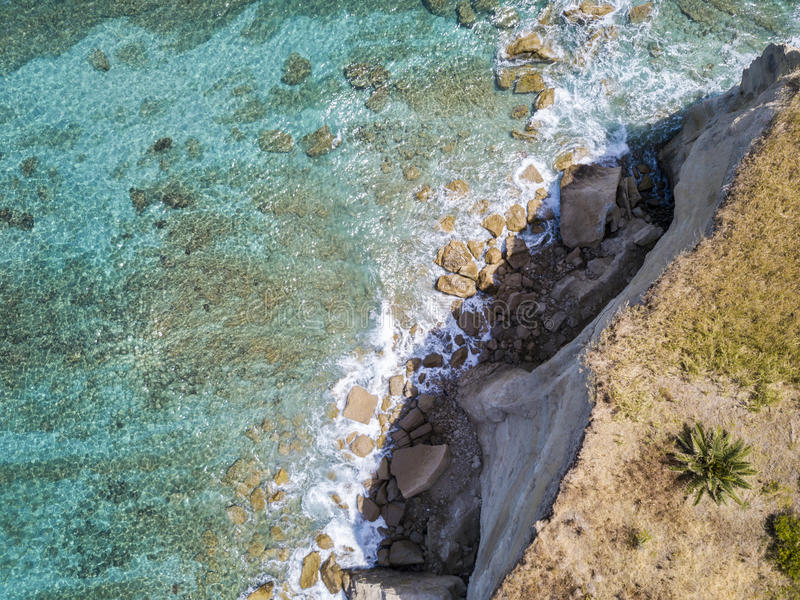 Aerial view of a beach, Sant`Irene, Briatico, Calabria. Italy. Aerial view of a promontory, coast, cliff, cliff overlooking the sea, Sant `Irene, Briatico royalty free stock image