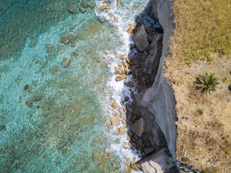 Aerial view of a beach, Sant`Irene, Briatico, Calabria. Italy. Aerial view of a promontory, coast, cliff, cliff overlooking the sea, Sant `Irene, Briatico royalty free stock images