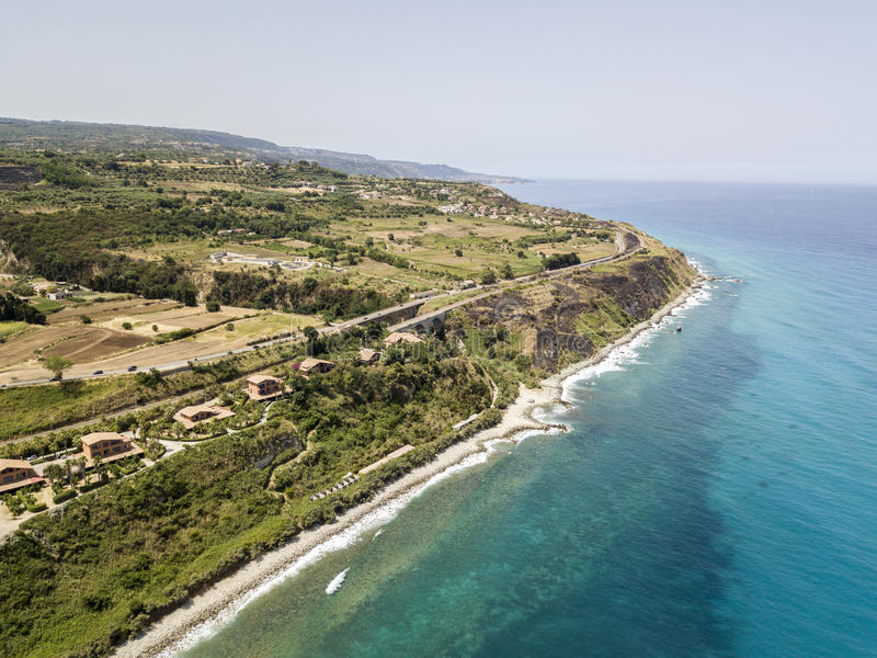 Aerial view of a beach, Sant`Irene, Briatico, Calabria. Italy. Aerial view of a promontory, coast, cliff, cliff overlooking the sea, Sant `Irene, Briatico stock images