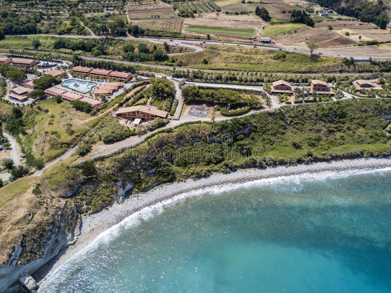 Aerial view of a beach, Sant`Irene, Briatico, Calabria. Italy. Aerial view of a promontory, coast, cliff, cliff overlooking the sea, Sant `Irene, Briatico stock image