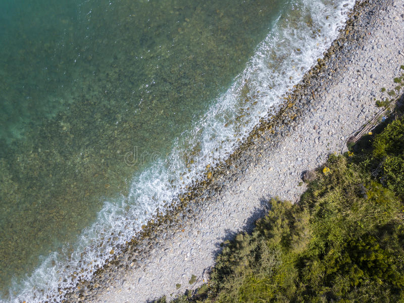 Aerial view of a beach, Sant`Irene, Briatico, Calabria. Italy. Aerial view of a promontory, coast, cliff, cliff overlooking the sea, Sant `Irene, Briatico royalty free stock photos