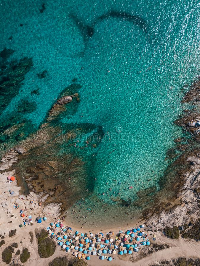 Aerial view of the beach in summer season royalty free stock photos