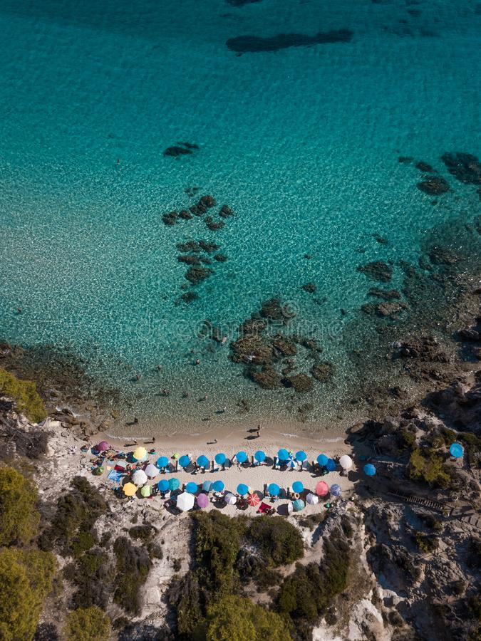 Aerial view of the beach in summer season stock images