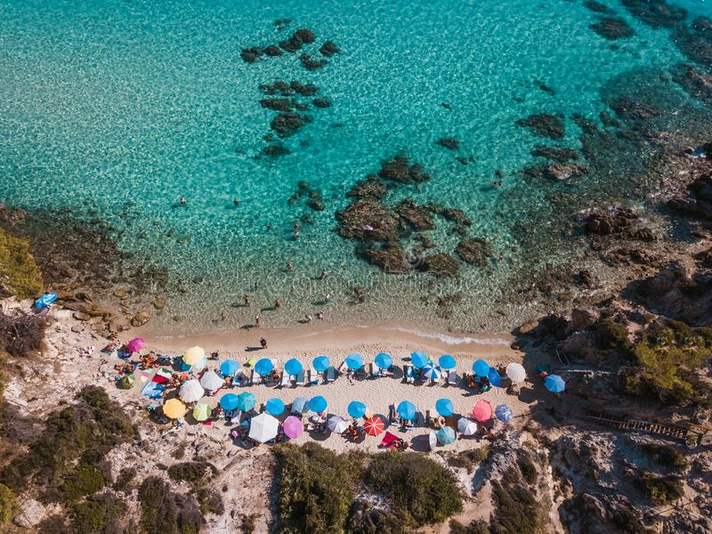 Aerial view of the beach in summer season royalty free stock photography