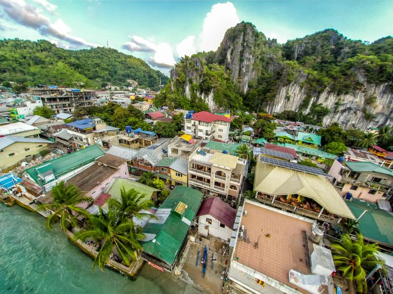 Aerial view of the beach and the town of Elnido, Philippines, 2018 stock photos