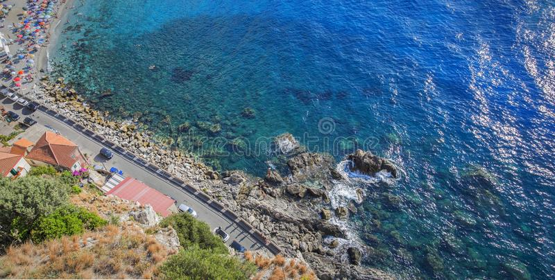 Aerial view of beach of the town of Scilla in Calabria stock photo