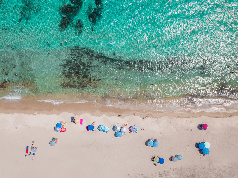 Aerial view of a beach stock image