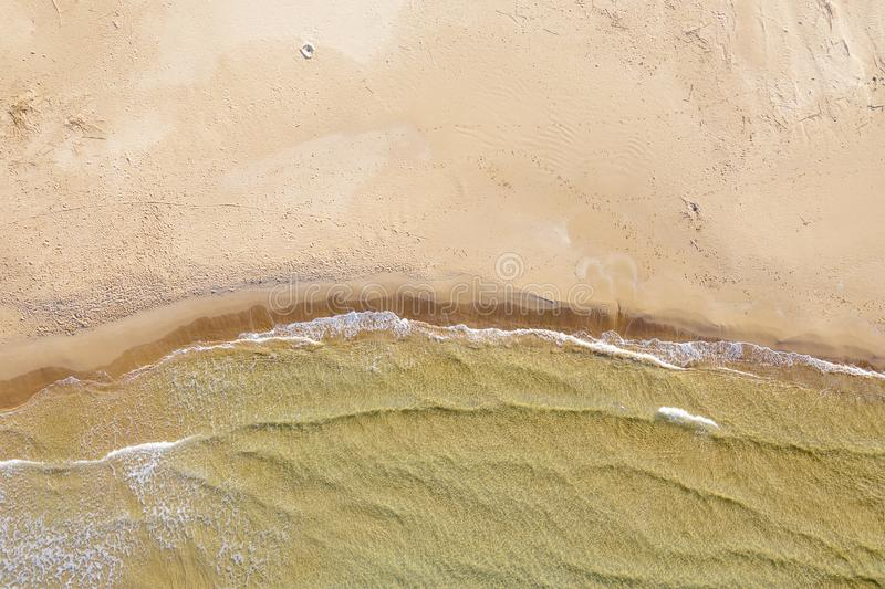 Aerial view of a beach with waves stock image