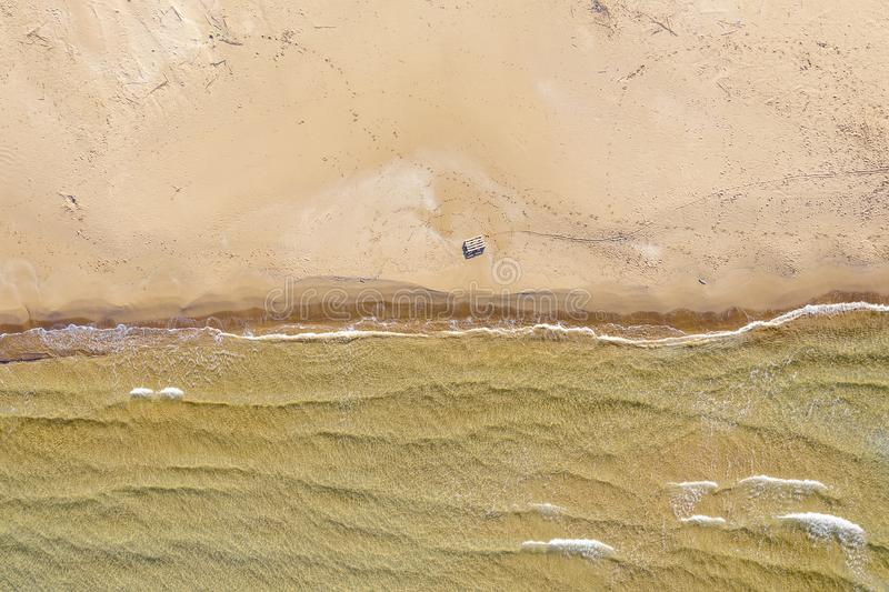 Aerial view of a beach with waves royalty free stock photos