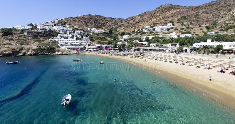 Aerial view of the beaches of Greek island of Ios island, Cyclades, Greece. stock photos