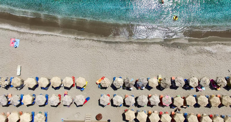Aerial view of the beaches of Greek island of Milos island stock photography