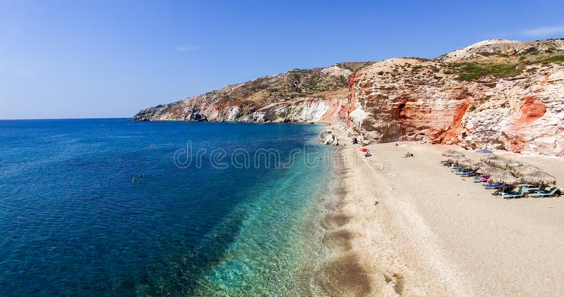 Aerial view of the beaches of Greek island of Milos island stock images