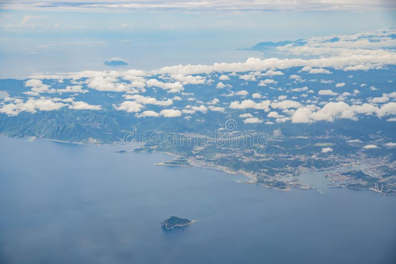 Aerial view of the beauiful New Taipei City. Taiwan stock photography