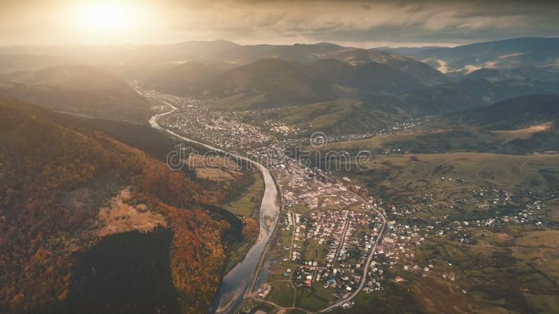 Aerial View of beautiful autumn mountain landscape stock photo