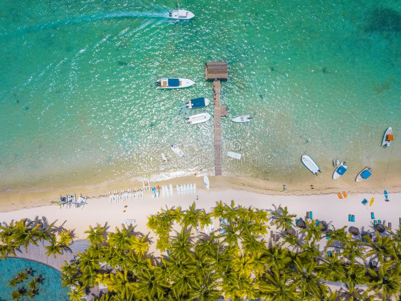 Aerial view on beautiful beach in Trou aux Biches, Mauritius royalty free stock photo