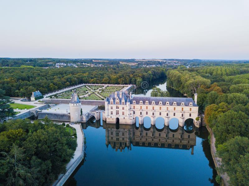 Aerial view on Chenonceaux Castle during sunset in Loire Valley, France stock photo