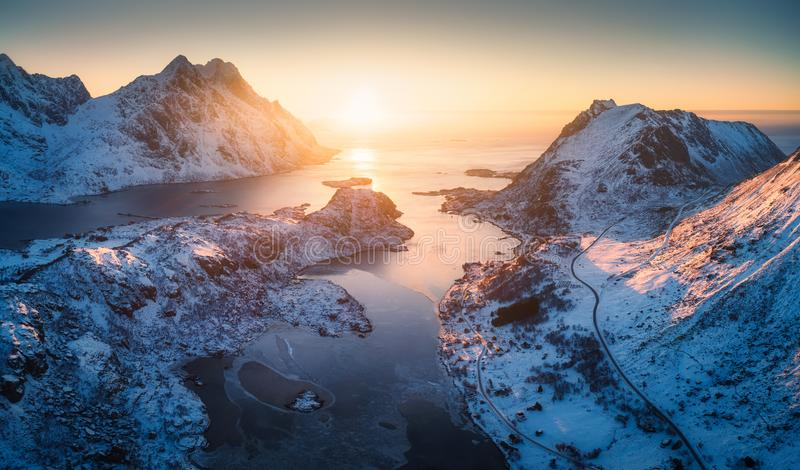 Aerial view of beautiful fjord at sunset in Lofoten Islands stock images