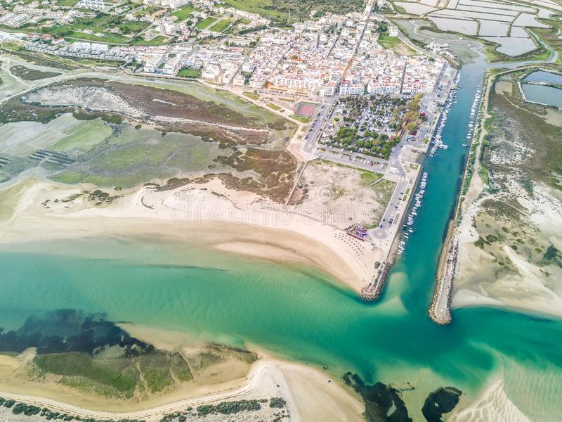 Aerial view of beautiful Fuseta by Ria Formosa Natural Park, Algarve, Portugal. Aerial view of beautifully located Fuseta by Ria Formosa Natural Park, Algarve stock images