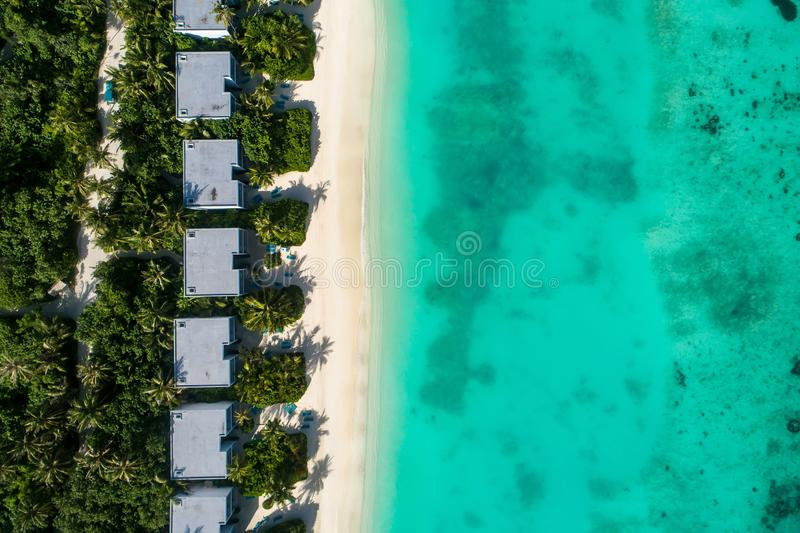 Aerial view of beautiful island at Maldives in the Indian Ocean. Top view from drone.  stock image
