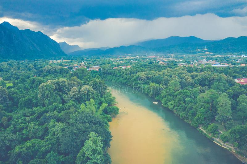 Aerial view of beautiful landscapes at Vang Vieng , Laos. Southeast Asia. Photo made by drone from above. Bird eye view royalty free stock photos