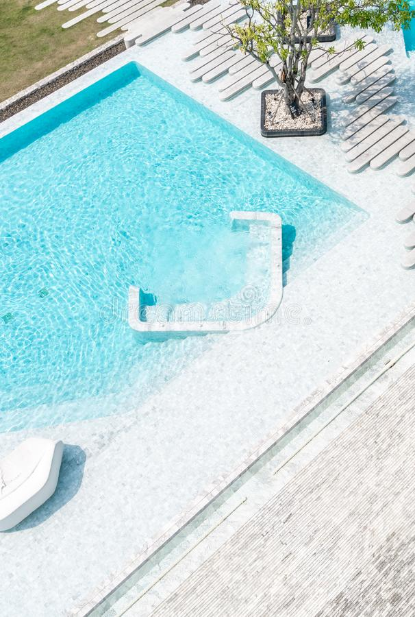 Aerial view of Beautiful luxury hotel swimming pool resort. With walk way royalty free stock photo