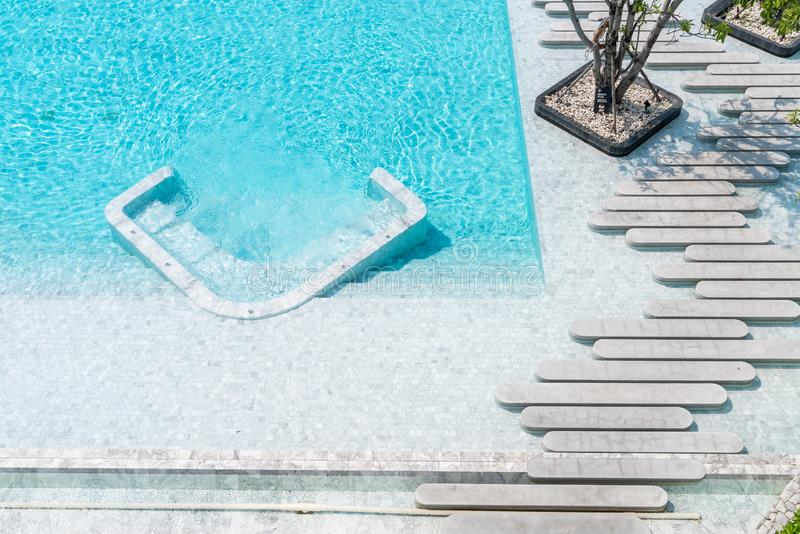 Aerial view of Beautiful luxury hotel swimming pool resort. With walk way royalty free stock photos