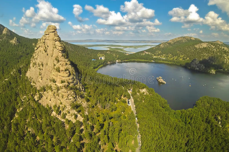 Aerial view of the a beautiful mountain lake Borovoe (Burabay), Kazakhstan stock image
