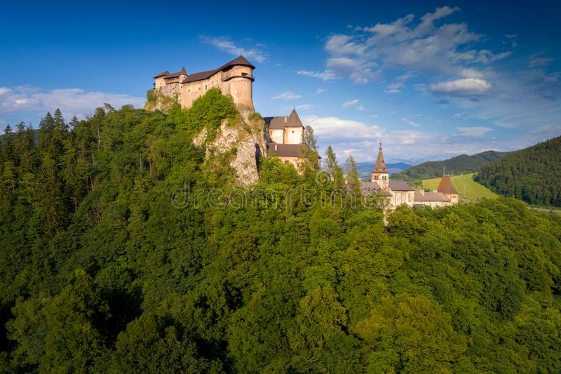 Aerial view of beautiful Orava castle at sunrise stock image