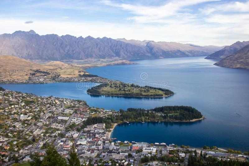 Aerial view of beautiful Queenstown, Otago, New Zealand stock images